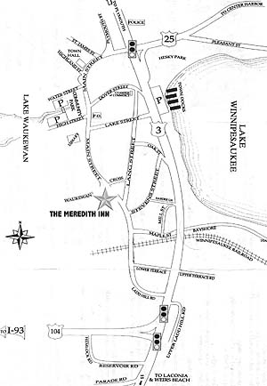 map to Meredith Inn